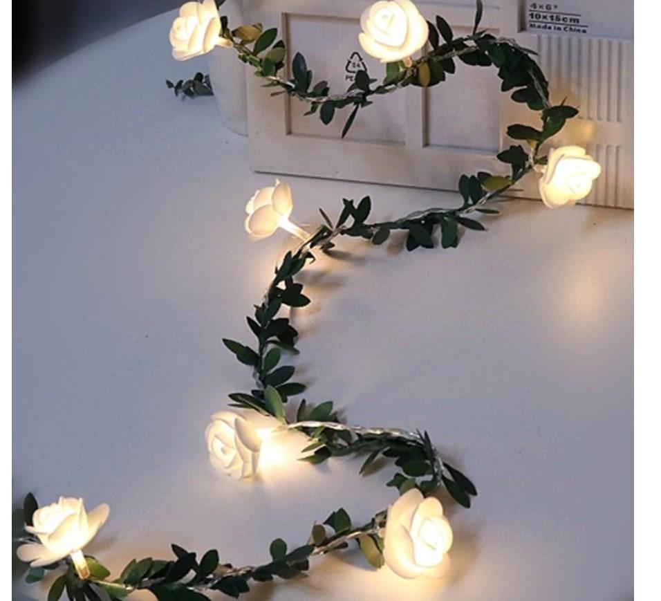White Roses LED Fairy Lights