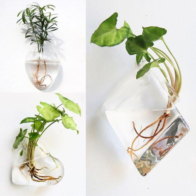 Fashion Wall Hanging Glass Flower Vase Terrarium Wall Fish Tank Aquarium Container Flower Planter Pots Home Garden Decoration