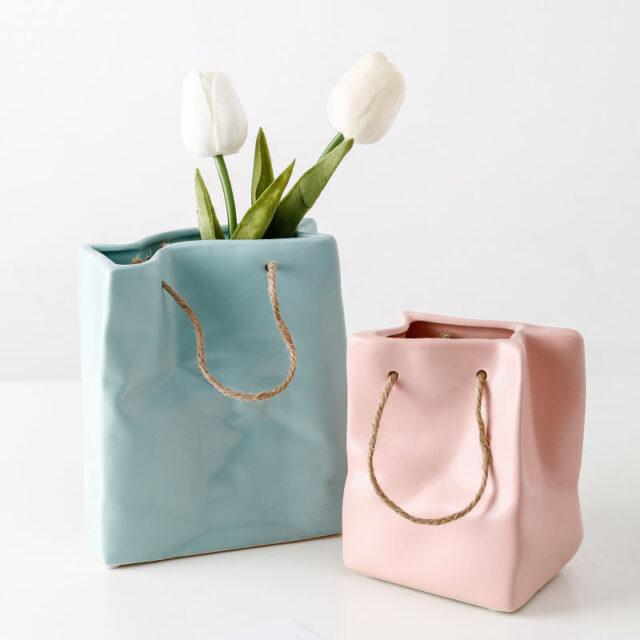 Nordic Creative Shopping Basket ceramic Vase Bag Decoration Simple Dried Flower Arrangement Vase Table Decoration